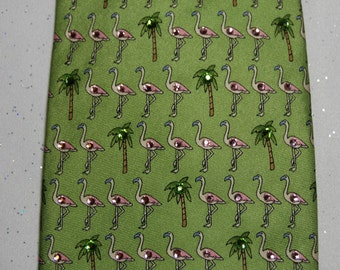Pink flamingo rhinestone necktie