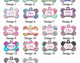 Custom Personalized Dog Tag. Lilly Pulitzer Inspired Dog Tag. Personalized Pet ID Tag. Lily Pulitzer Inspired Dog Tag