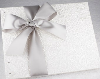 Wedding Guest Book, Light Grey Wedding, Silver and White, 25th Anniversary, Silver Anniversary, Signature Book, Coptic Stitch, MADE TO ORDER