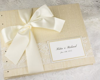 Cream Wedding Guest Book, Dark Ivory Guest Book, Bridal Shower, Coptic Stitch, Ivory Ribbon, Elegant Guest Book, Dupioni Silk, MADE TO ORDE