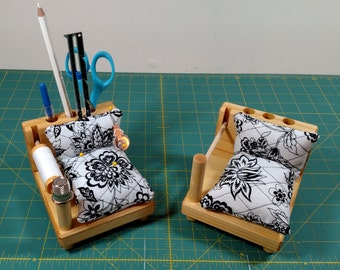 Sewing Caddy - White and Black Fabric