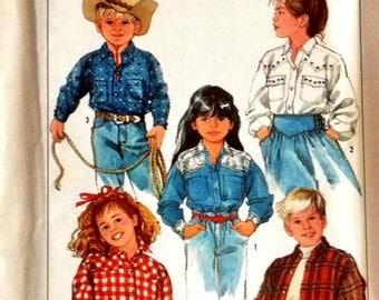 Simplicity Pattern 8368 Childs Western Style Shirt Size 5