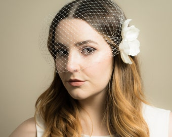 Birdcage Wedding Veil with Small Crystal Peony Floral Bridal Headpiece (Bandeau Birdcage Veil, Russian Netting Veil, Pearl Crystal Flower)