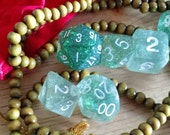 Enlightenment sparkly Polyhedral dice set with velvet bag and sandalwood jewelry D&D Pathfinder