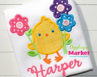 Personalized Easter Spring Chick Flower Boy or Girl Applique Shirt or Onesie