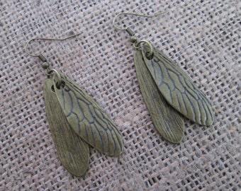 Bronze Cicada Wing Charm Earrings