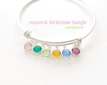 Birthstone Bangle Personalized Bangle Swarovski Birthstone Jewelry Silver Bangle Mother's Jewelry Birthstone Jewelry Bridesmaid Gifts Silver