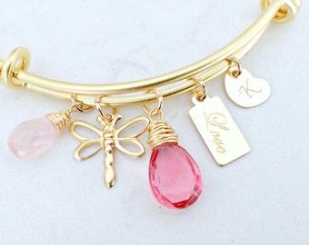 personalized rose quartz bangle dragonfly heart tag custom initial love tag pink quartz gold bangle beach wedding monogram jewelry letter