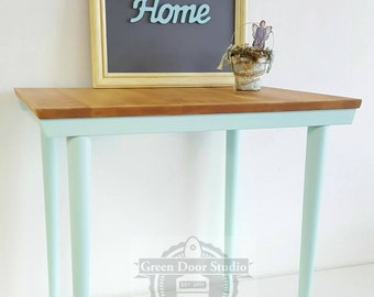 Coastal Blue Side Table with Stained Top