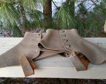 Antique Spats Wool with Buttons & Leather Straps