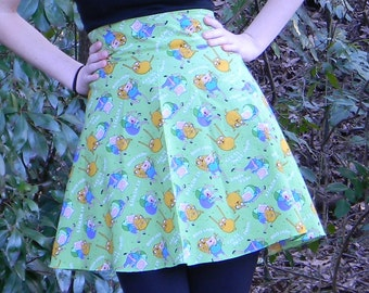 High Waist Adventure Time Circle Skirt (Custom Size)