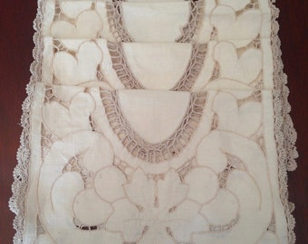 4 Vintage Ecru Beige Cut Work Cotton Place Mats Crochet Edge