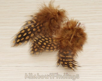 F006-BROWN // Brown Colored Fluffy Top Polka Dot Feather Pendant, 2 Pc