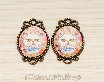 PDT017-27 // Antique Brass Plated Vintage Red Background White Blue Bow Tie Kitten Cat Print Portrait Oval Frame Charm Pendant, 2 Pc