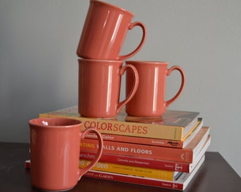 SALE! CORNING Coffee Cups Set of Four Coral Color Vintage Coffee Tea Mugs