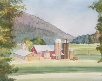 Watercolor Farm Landscape Painting