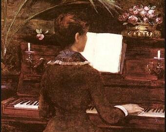 "8 x 10"" Poster print, Ultra Premium poster Paper~ Louise  Abbéma, Au Piano 1880.  music-Edwardian"