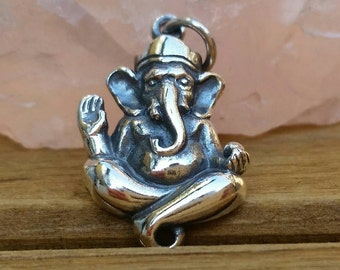 Ganesh, Sterling Silver Ganesh Charm, Ganesha Charm, Hindu Jewelry, Spiritual Charm, Elephant Headed God, Hindu Necklace, Charms of India
