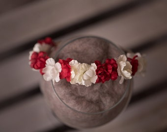 "The ""Scarlet"" headband, newborn halo headband, photo prop, red and white, floral, organic"