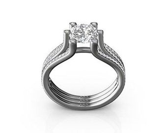 1.25 Cttw Round Diamonds Engagement Ring in 18K White Gold