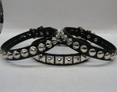 Studded Spiked Leather Collar With Buckle closure Silver/Chrome Hardware Handmade in U.S.A. Cone Pyramid Round Dome Conical Square Choker