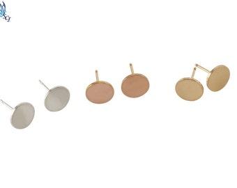 Gold Circle Stud Earrings, Rose Gold Circle Stud Earrings, Sterling Silver Circle Stud Earrings, Everyday Wear, Minimalist Earrings, GFER49