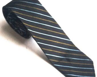 "Vintage Skinny Tie, 56"" x 2"", Striped Silk Tie, VAN HEUSEN,Black Silk Tie,Thin Diagonal Stripe Tie,Hipster Tie,Narrow Tie,Retro Tie"