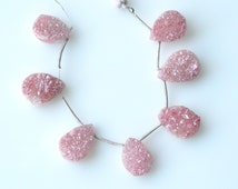Pink Druzy Beads, ONE Focal, 16mm to 19mm, Metallic Gemstone Titanium Druzy Agate, Teardrop Briolette, Flat Back Gemstones CB