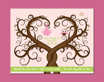 Baby Shower Guestbook Thumbprint Tree, Wall Art Guestbook, Baby Shower Guest Thumbprint Tree, Baby Girl Shower