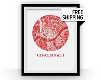 Cincinnati Map Print - City Map Poster