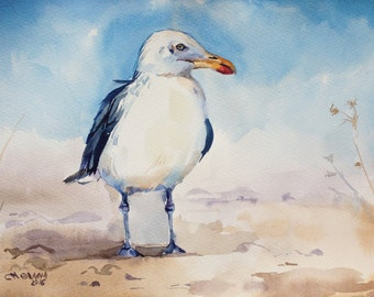 Seagull at the beach, sea bird, sea art  ORIGINAL WATERCOLOR PAINTING