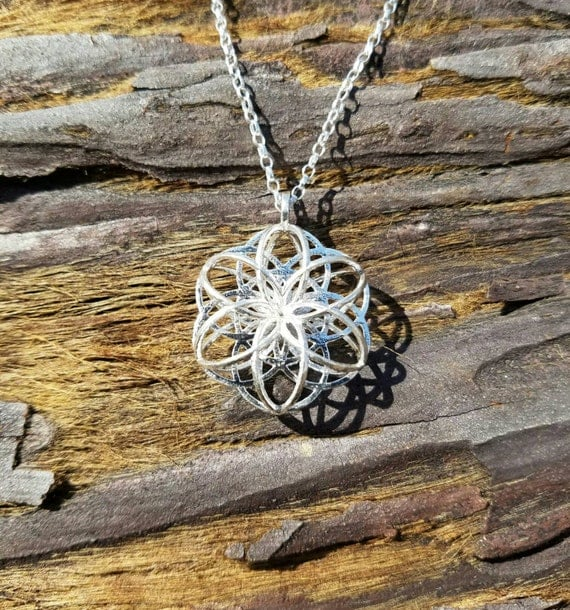 3D Seed Of Life Sacred Geometry Necklace in Recycled Sterling Silver - 3D Printed / Lost Wax Cast Jewelry