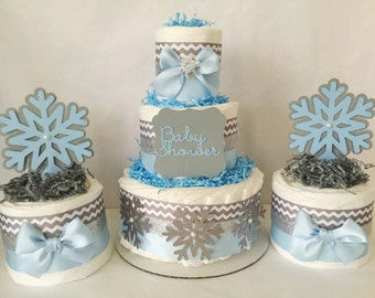 Winter Wonderland Baby Shower Diaper Cake Set, Set Of 3 Winter Theme  Centerpieces