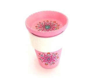 Hand Painted Clay Pot, Plant Pot, Painted Flower Pot, Garden Pot, Party Favor Terra Cotta Pot, Indoor Outdoor Planter - BABY PINK