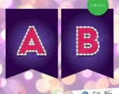 Small Pink & Purple Marquee Banner  :  Printable Banner All Letters 0-9 numbers