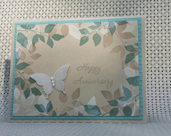 Anniversary Card - Leaves border - Butterfly