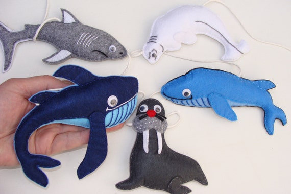 Sea animals felt garland kids room wall hanging nursery for Sea animal baby mobile