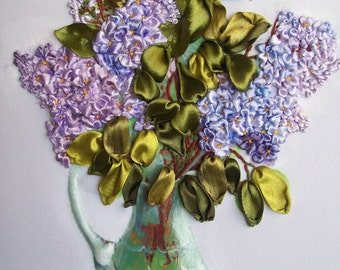 """Painting """"Lilac in a vase"""", embroidery ribbons."""
