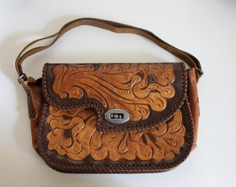 Vintage Tooled Leather Handbag With Adjustable Strap