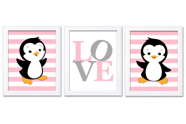 Penguin Nursery Art Set of 3 Prints LOVE Pink Grey Gray Penguin Wall Decor Baby Girl Child Kid Room