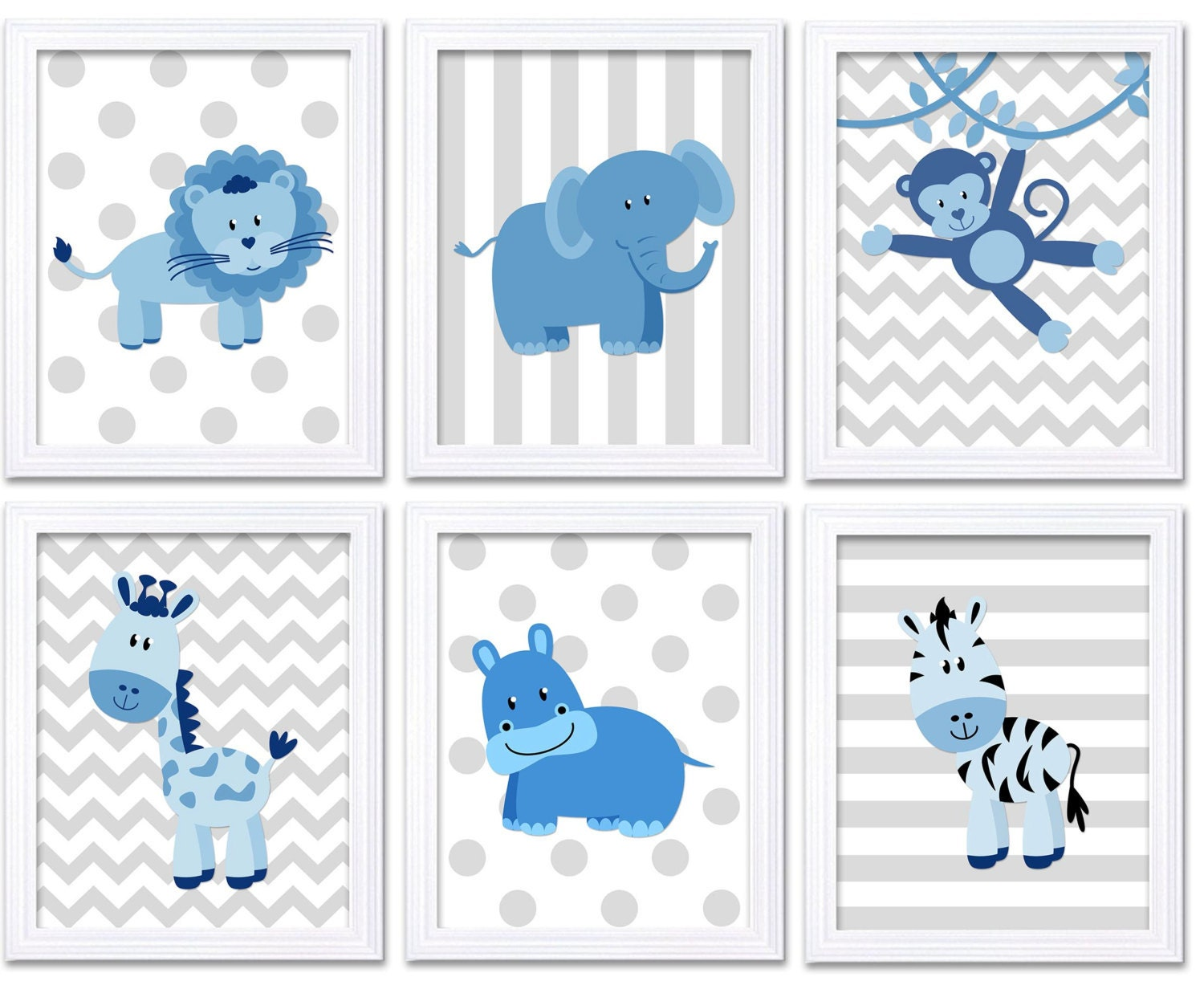 Blue Grey Africa Animals Jungle Nursery Art Set of 6 Prints Baby Wall Art Decor Kid Child Bedroom El