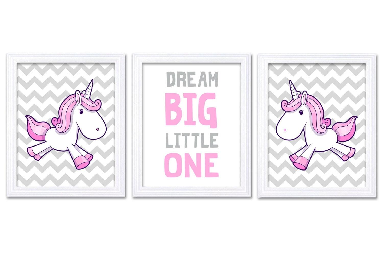 Girl Unicorn Nursery Art Set of 3 Print Pink Grey Dream Big Little One Child Kid Room Nursery Wall D