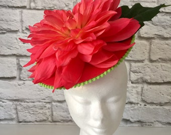 Spring Racing Fascinator,  Dahlia Flower Fascinator, Watermelon Coloured Fascinator