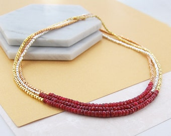 Ruby Necklace, Gold Necklace, Red Gemstone, Gemstone Jewelry, Gold Jewelry, Silver Necklace, Layered Necklace, Birthstone Necklace,Gold Ruby