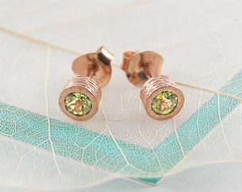 Rose Gold Earrings, Gold Stud Earrings, Peridot Jewelry Set, Rose Gold Jewelry, Peridot Studs, Peridot Earrings, Green Gemstone, Gift Set