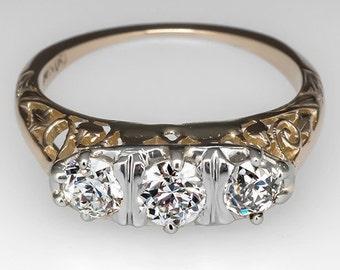 Vintage Three Stone Old Euro Diamonds Engagement Ring 14K Gold WM7180