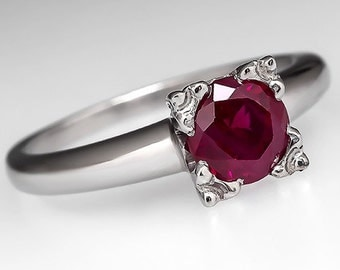Ruby Engagement Ring – Vintage .92 Carat Round Ruby Solitaire - Engagement Ring Platinum & Palladium - WM9025