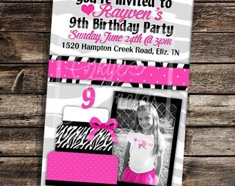 Zebra Print Cake Birthday Party Invitation - Printable