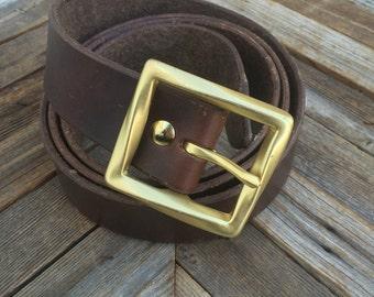 "1.5"" Leather Belt w/Solid Brass Buckle"