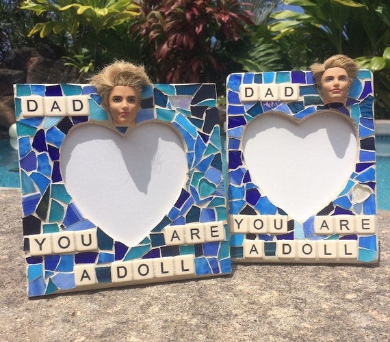 Dad Stained Glass Frame Mosaic Father's Day Gift Art with a Message Made in Hawaii Deesigns by Harris©